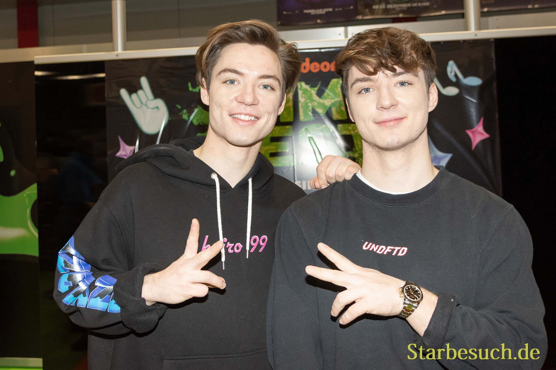 DORTMUND, GERMANY - December 1st 2018: Die Lochis (German YouTube personalities) at German Comic Con Dortmund, a two day fan convention