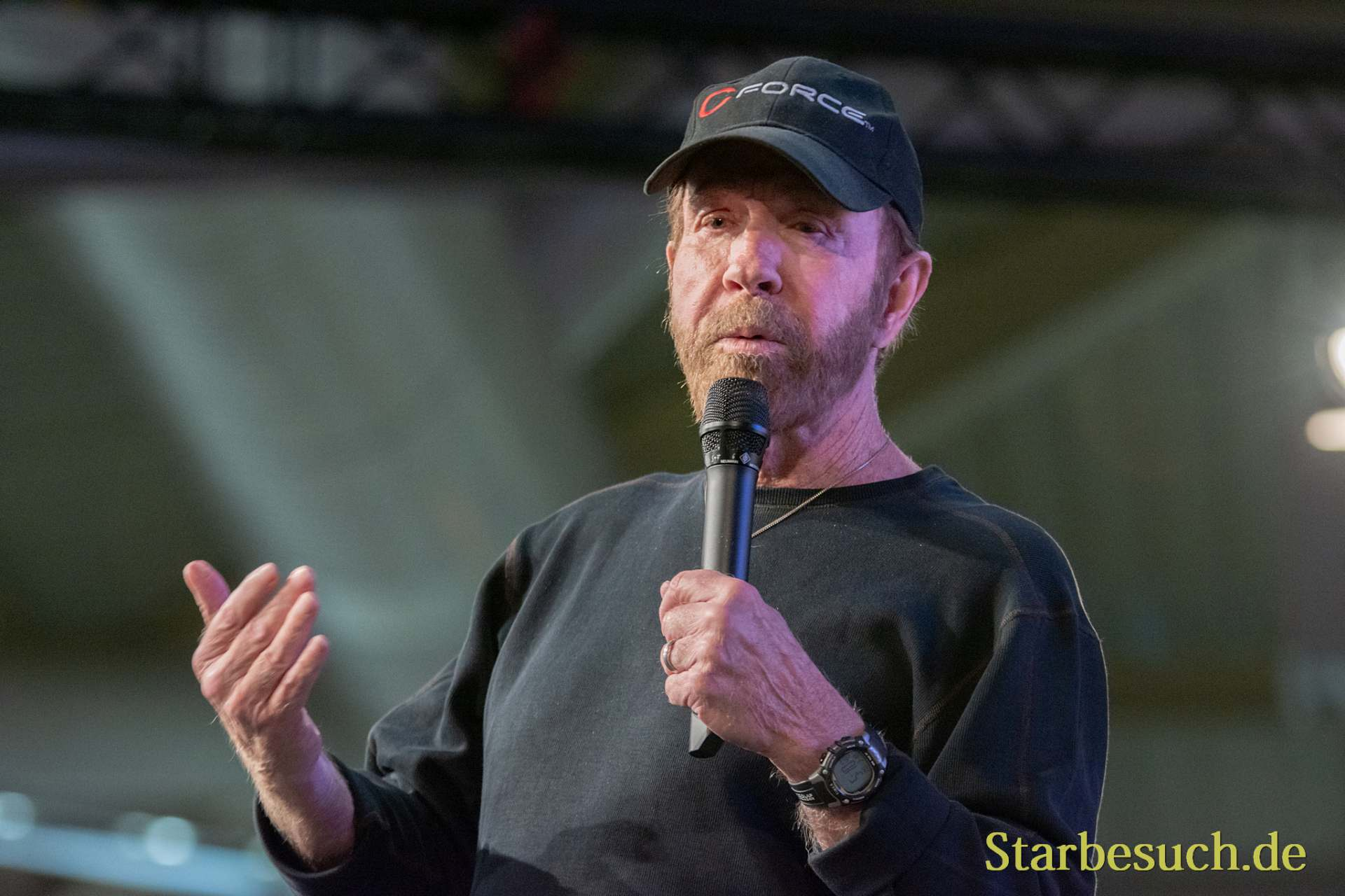 DORTMUND, GERMANY - December 1st 2018: Chuck Norris (*1940, American martial artist, actor, film producer and screenwriter) at German Comic Con Dortmund, a two day fan convention