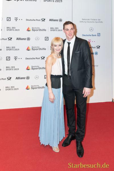 WIESBADEN, Germany - February 2nd, 2019: Aljona Savchenko and Bruno Massot at Ball des Sports 2019
