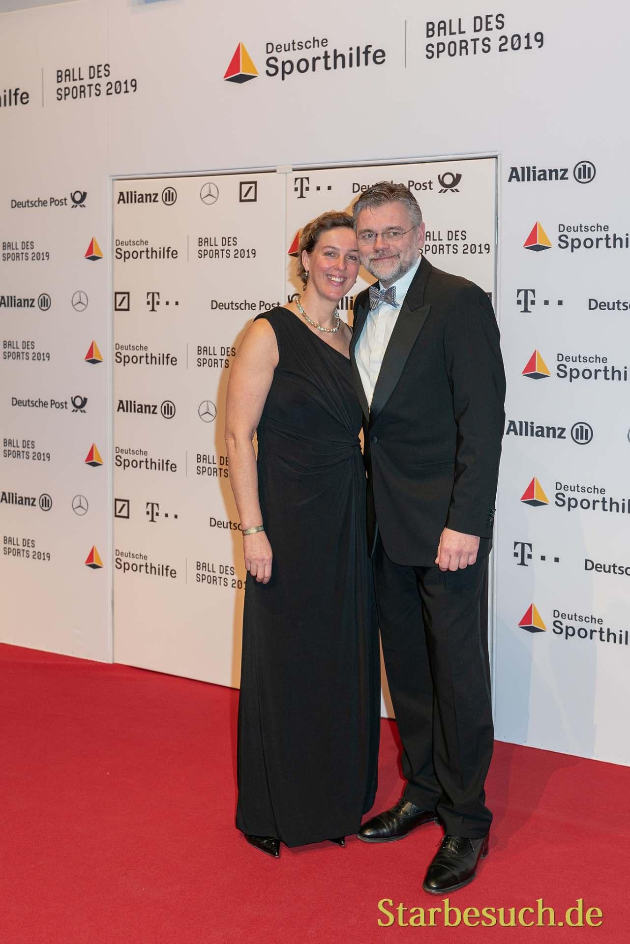 WIESBADEN, Germany - February 2nd, 2019: Steffi Nerius (*1972, German javelin thrower) at Ball des Sports 2019