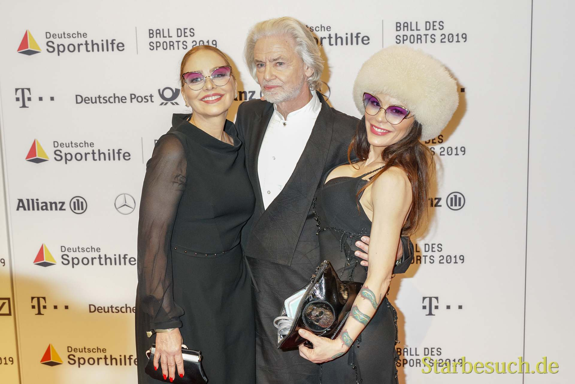 WIESBADEN, Germany - February 2nd, 2019: Ornella Muti, Hermann Bühlbecker and Naike Rivelli at Ball des Sports 2019