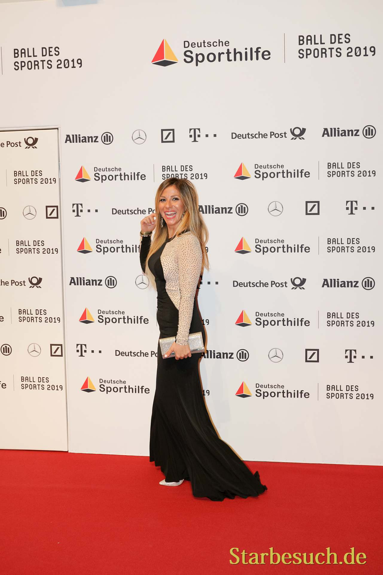 WIESBADEN, Germany - February 2nd, 2019: Gülcan Kamps (*1982, German-Turkish TV-personality and singer) at Ball des Sports 2019