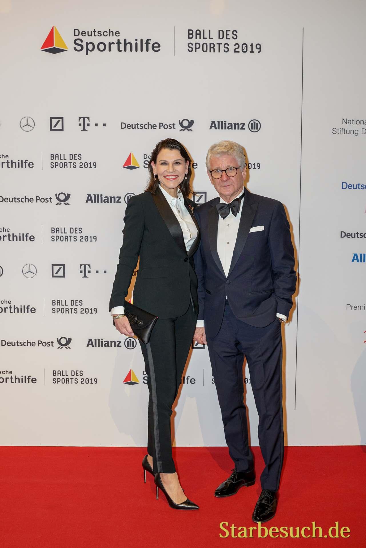 WIESBADEN, Germany - February 2nd, 2019: Marcel Reif (*1949, German sport journalist) at Ball des Sports 2019