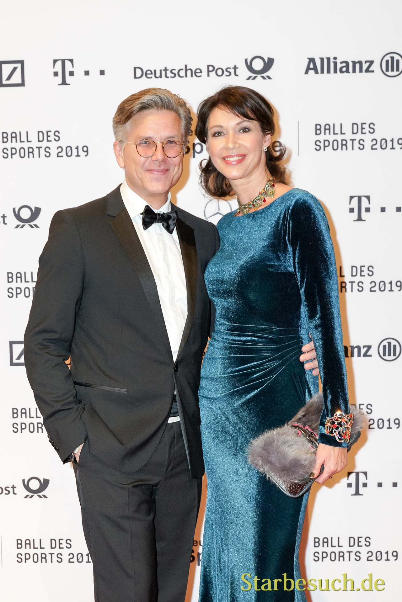 WIESBADEN, Germany - February 2nd, 2019: Percy Hoven and wife at Ball des Sports 2019