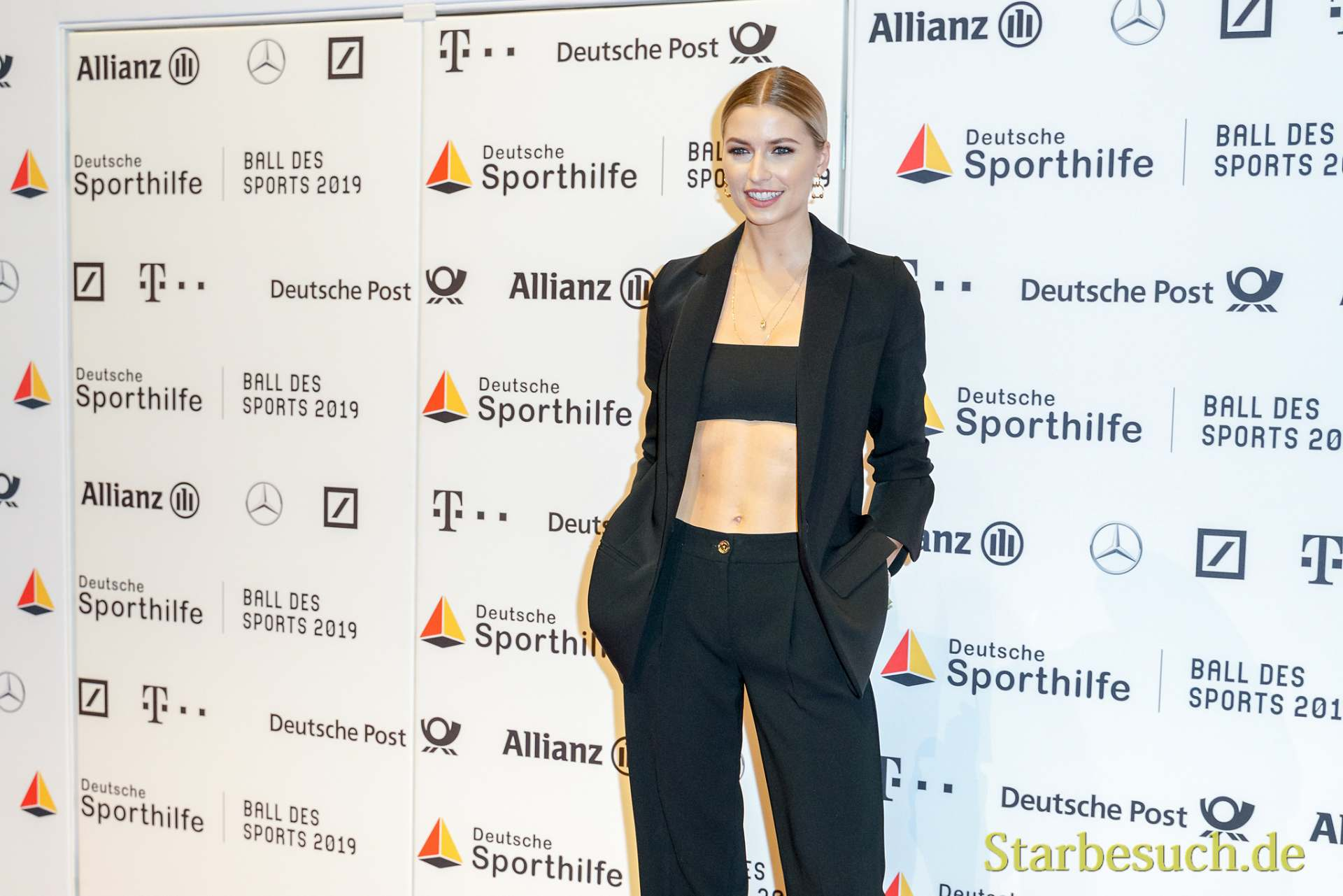WIESBADEN, Germany - February 2nd, 2019: Lena Gercke (*1988, German model) at Ball des Sports 2019