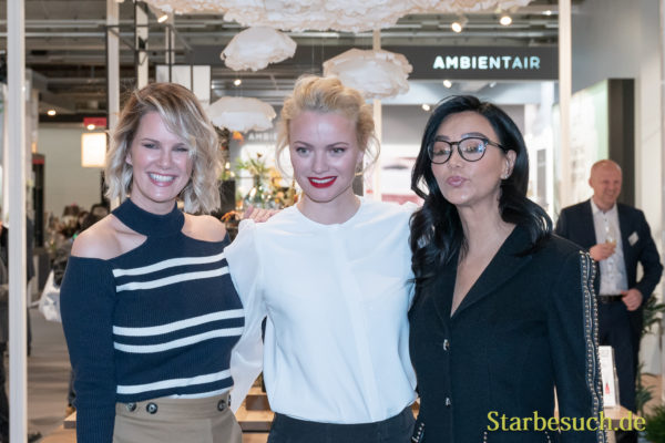 Frankfurt, Germany. 11th Feb 2019. Monica Ivancan, Franziska Knuppe and Verona Pooth visit Ipuro at Ambiente trade fair 2019. Ambiente is a leading consumer goods trade fair with more than 4300 exhibitors and 130,000+ trade visitors.