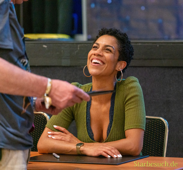 Bonn, Germany - June 8 2019: Dominique Tipper (*1987, British actress, singer-songwriter and dancer - The Expanse) is happy to meet fans at FedCon 28