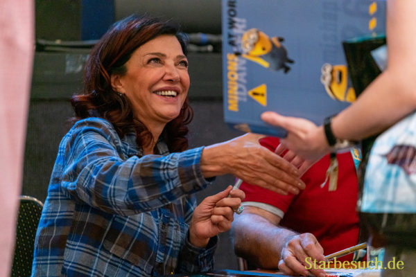 Bonn, Germany - June 8 2019: Shohreh Aghdashloo (*1952, American actress, born in Iran - The Expanse) is happy to meet fans at FedCon 28