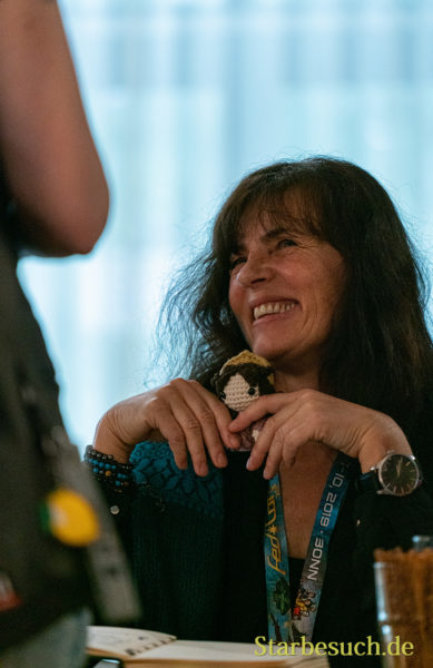 Bonn, Germany - June 8 2019: Mira Furlan (*1955, Croatian actress and singer - Babylon 5, LOST) is happy to meet fans at FedCon 28, a four day sci-fi convention. FedCon 28 took place Jun 7-10 2019.