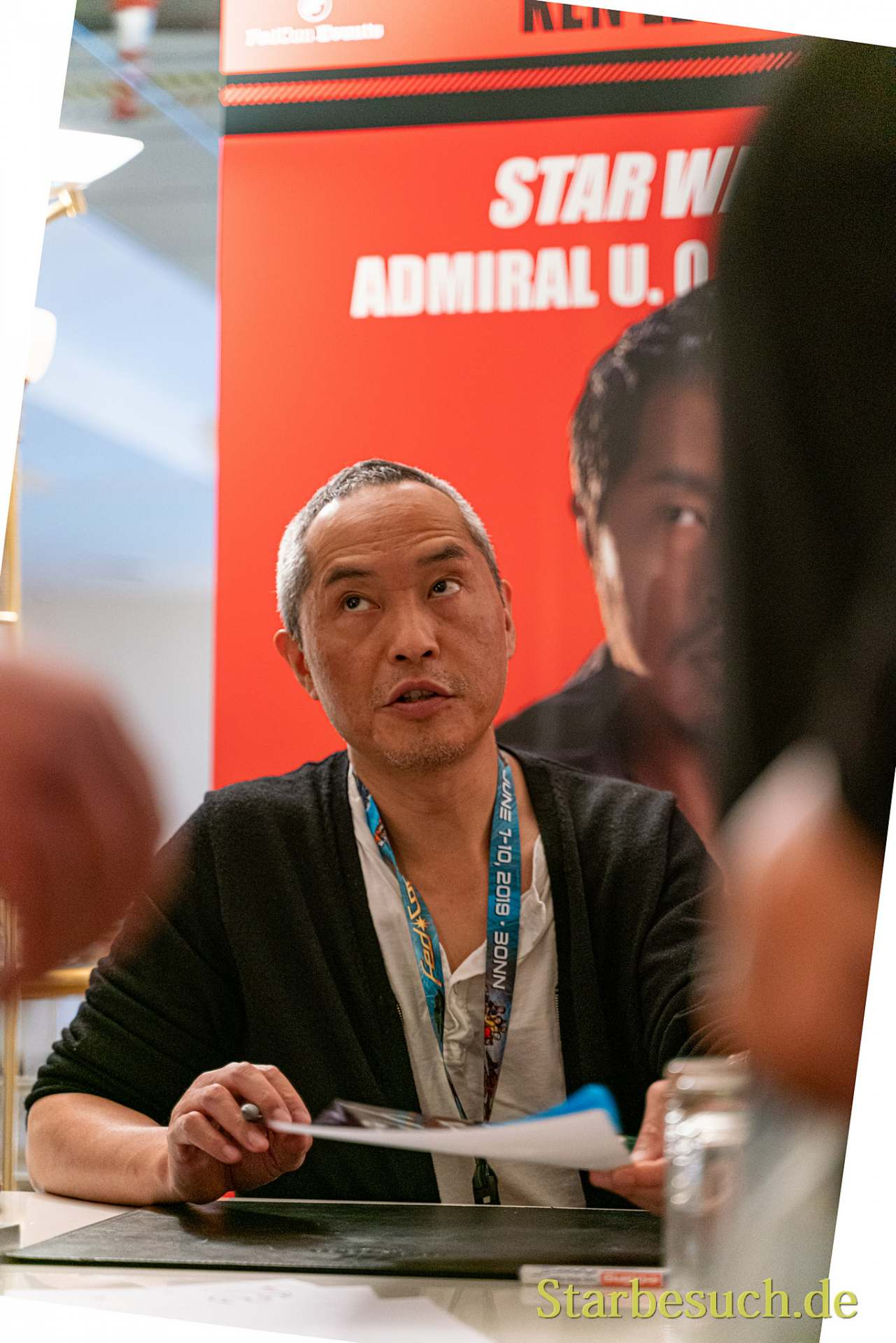 Bonn, Germany - June 8 2019: Ken Leung (*1970, American actor - Star Wars, LOST) signing autographs for fans at FedCon 28, a four day sci-fi convention. FedCon 28 took place Jun 7-10 2019.