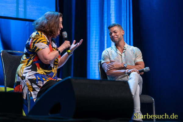 Bonn, Germany - June 8 2019: Lori Dungey and Wilson Cruz at FedCon 28, a four day sci-fi convention. FedCon 28 took place Jun 7-10 2019.