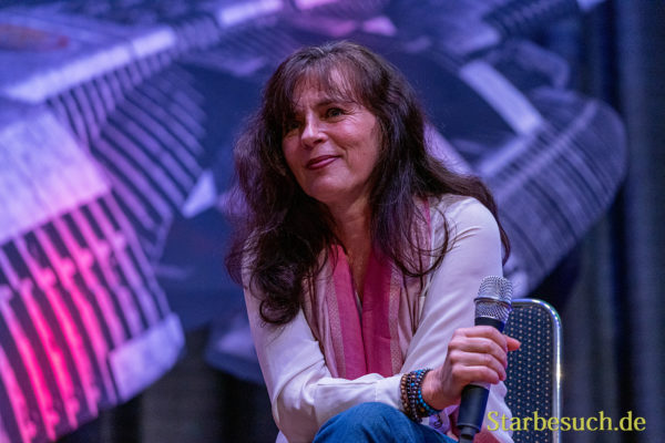 Bonn, Germany - June 8 2019: Mira Furlan (*1955, Croatian actress and singer - Babylon 5, LOST) talks about her experiences in the movie industry at FedCon 28