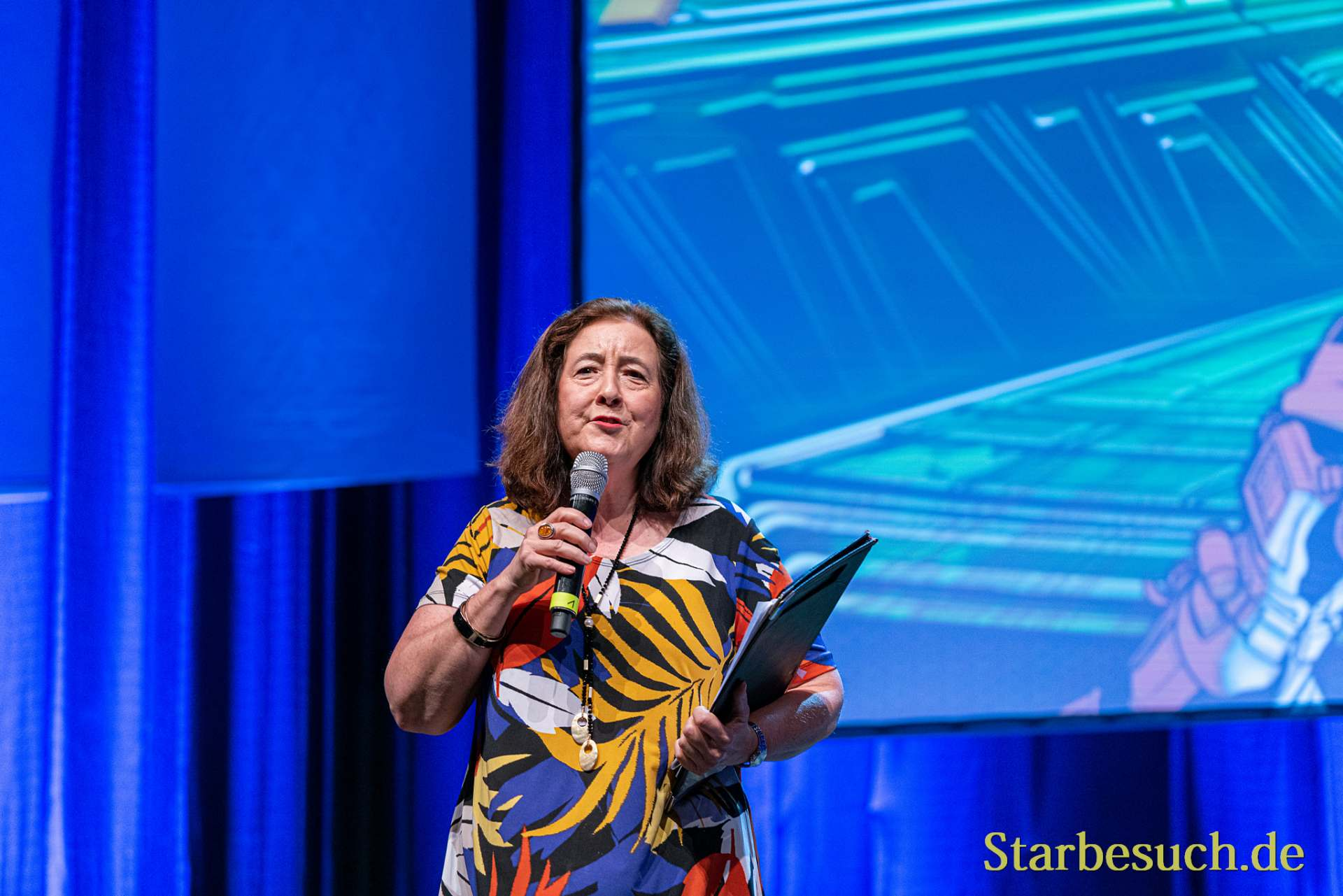 Bonn, Germany - June 8 2019: Lori Dungey (*1957, New Zealand actress - The Lord of the Rings) at FedCon 28, a four day sci-fi convention. FedCon 28 took place Jun 7-10 2019.