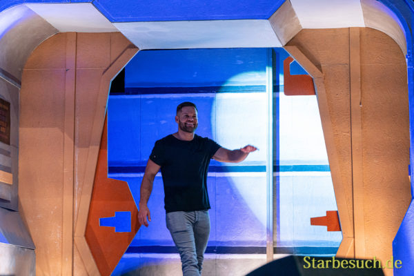 Bonn, Germany - June 8 2019: Wes Chatham (*1978, actor - The Expanse) entering the panel at FedCon 28, a four day sci-fi convention. FedCon 28 took place Jun 7-10 2019.