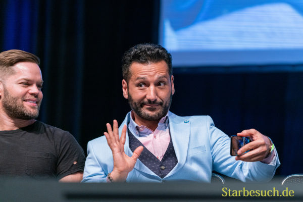 Bonn, Germany - June 8 2019: Cas Anvar (Canadian actor - The Expanse) at FedCon 28, a four day sci-fi convention. FedCon 28 took place Jun 7-10 2019.