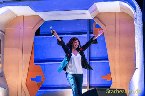 Bonn, Germany - June 8 2019: Shohreh Aghdashloo (*1952, American actress, born in Iran - The Expanse) entering the panel at FedCon 28