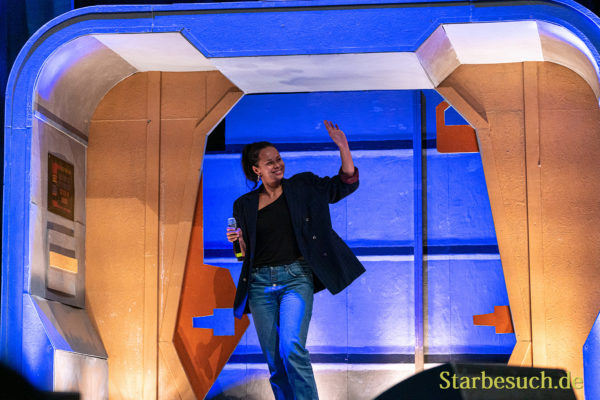 Bonn, Germany - June 8 2019: Frankie Adams (*1994, New Zealand actress and amateur boxer - The Expanse) entering the panel at FedCon 28
