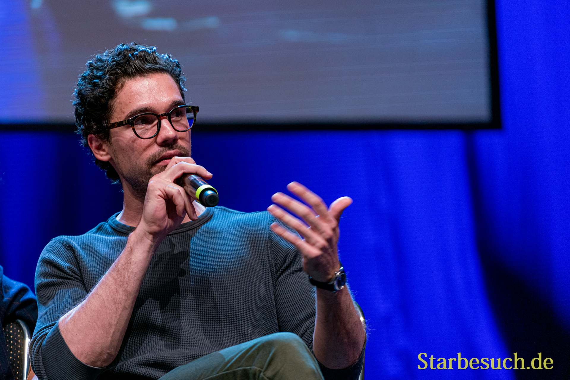Bonn, Germany - June 8 2019: Steven Strait (*1986, American actor and model - The Expanse) talks about his experiences in The Expanse at FedCon 28