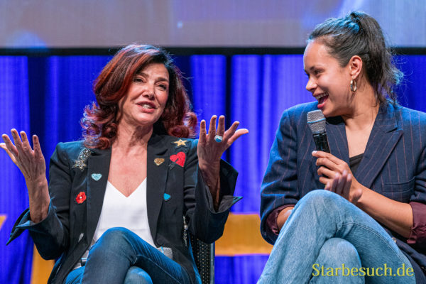 Bonn, Germany - June 8 2019: Shohreh Aghdashloo and Frankie Adams at FedCon 28, a four day sci-fi convention. FedCon 28 took place Jun 7-10 2019.