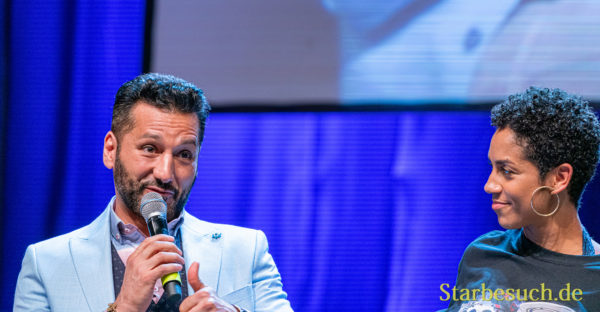 Bonn, Germany - June 8 2019: Cas Anvar and Dominique Tipper at FedCon 28, a four day sci-fi convention. FedCon 28 took place Jun 7-10 2019.