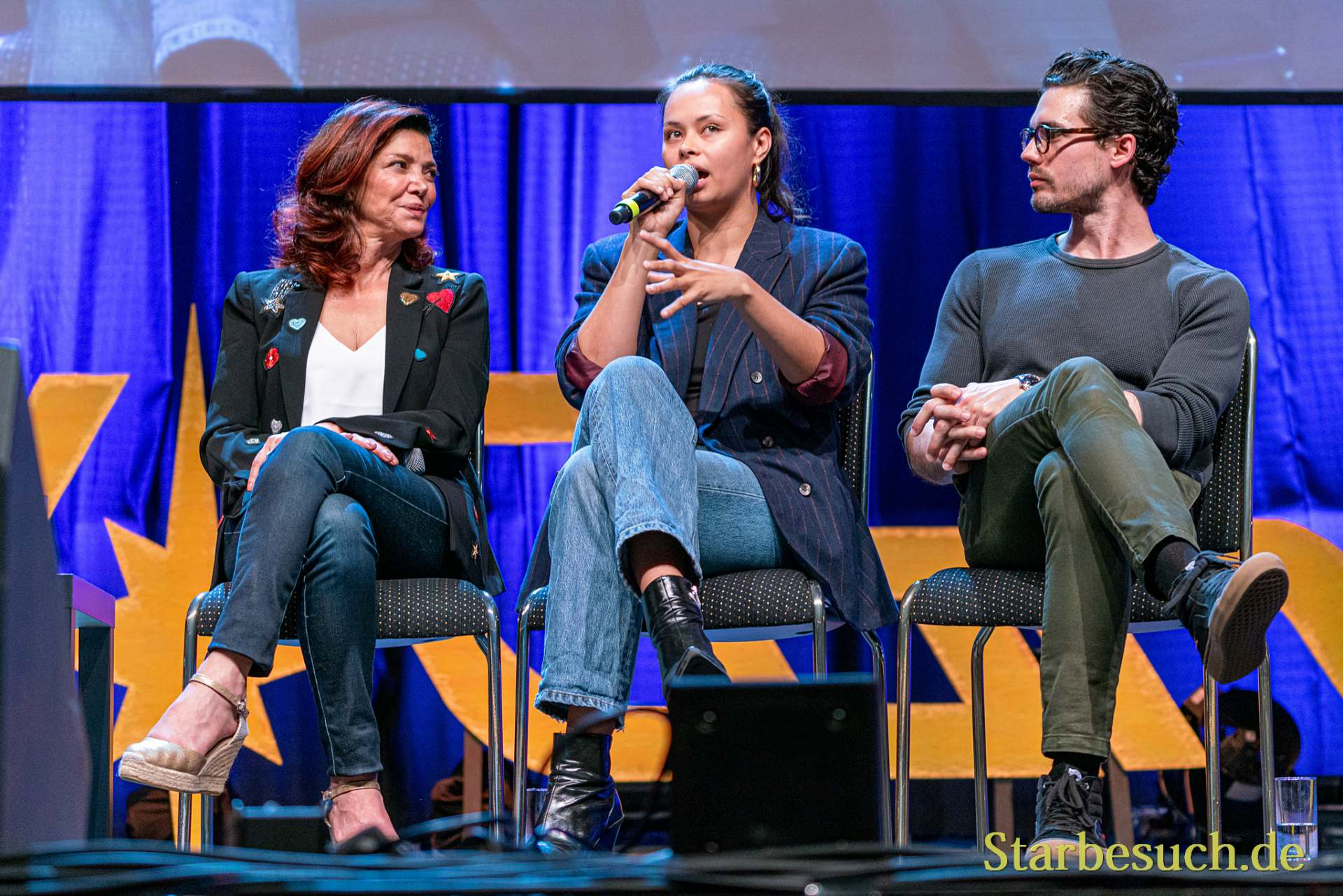 Bonn, Germany - June 8 2019: Shohreh Aghdashloo, Frankie Adams and Steven Strait at FedCon 28, a four day sci-fi convention. FedCon 28 took place Jun 7-10 2019.
