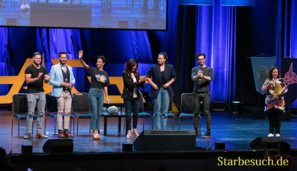 Bonn, Germany - June 8 2019: Wes Chatham, Cas Anvar, Dominique Tipper, Shohreh Aghdashloo, Frankie Adams and Steven Strait at FedCon 28