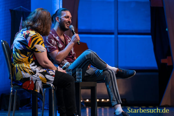 Bonn, Germany - June 8 2019: Lori Dungey and Shazad Latif at FedCon 28, a four day sci-fi convention. FedCon 28 took place Jun 7-10 2019.