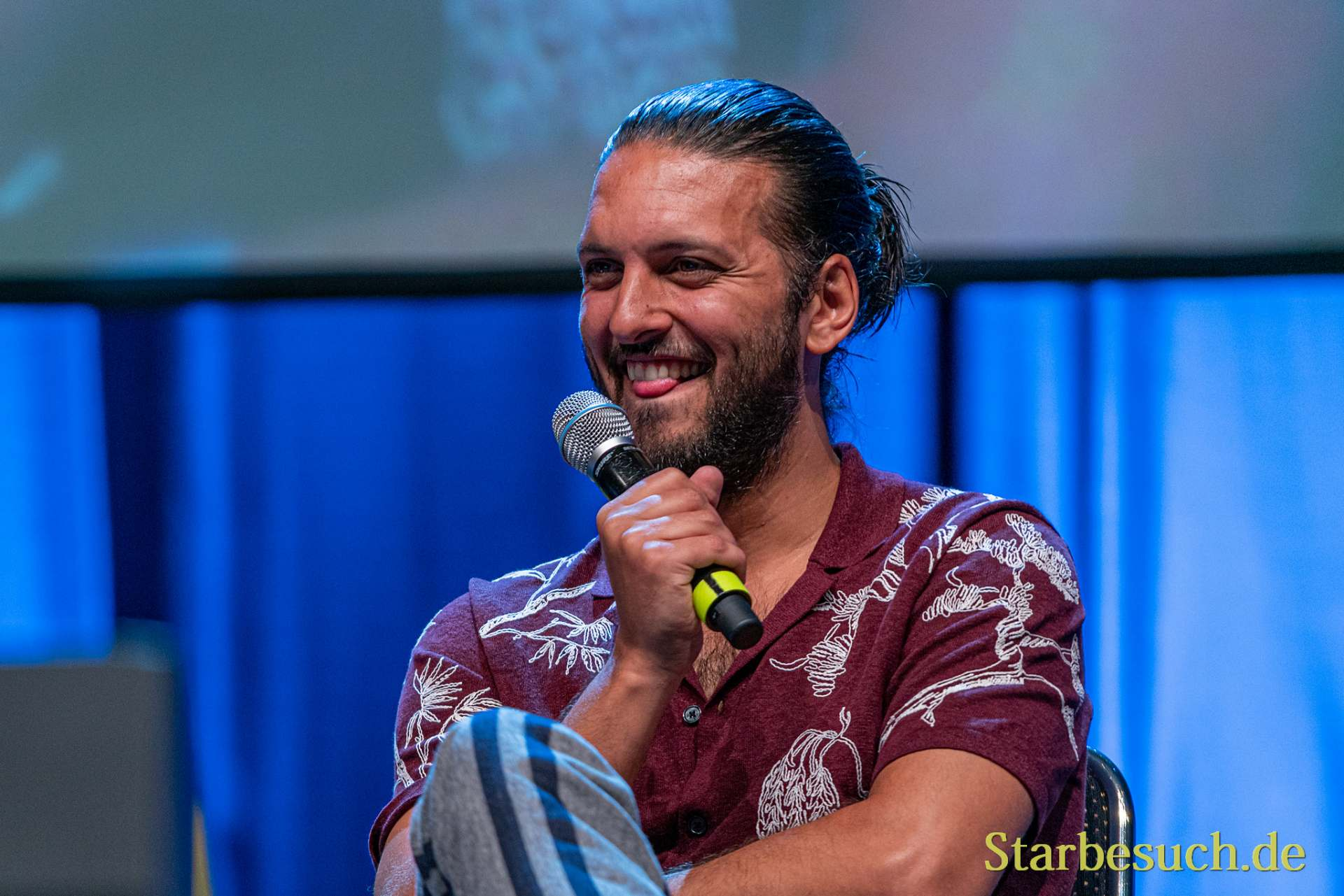 Bonn, Germany - June 8 2019: Shazad Latif (*1988, British actor - Star Trek: Discovery) at FedCon 28, a four day sci-fi convention. FedCon 28 took place Jun 7-10 2019.