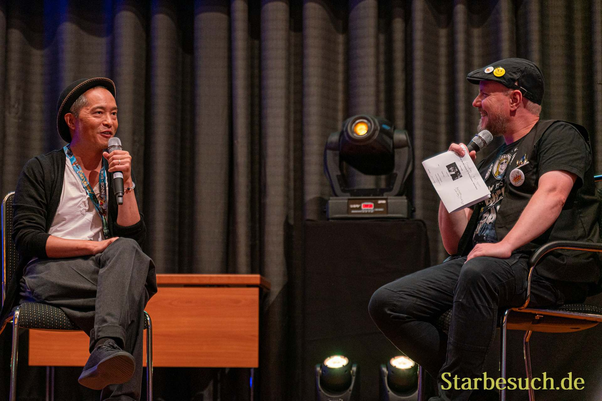 Bonn, Germany - June 8 2019: Ken Leung and Steffen Volkmer at FedCon 28, a four day sci-fi convention. FedCon 28 took place Jun 7-10 2019.