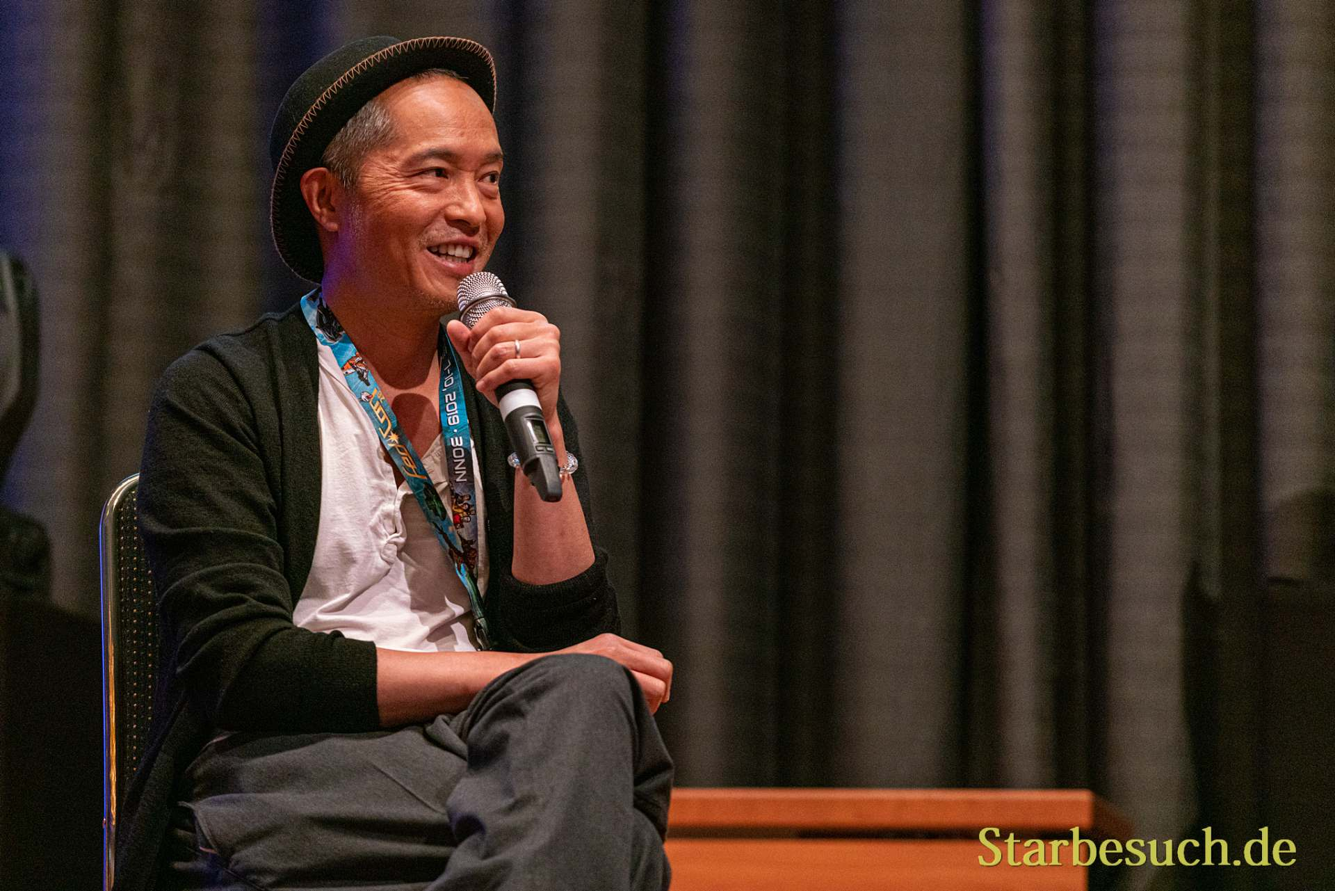 Bonn, Germany - June 8 2019: Ken Leung (*1970, American actor - Star Wars, LOST) talks about his experiences in the movie industry at FedCon 28
