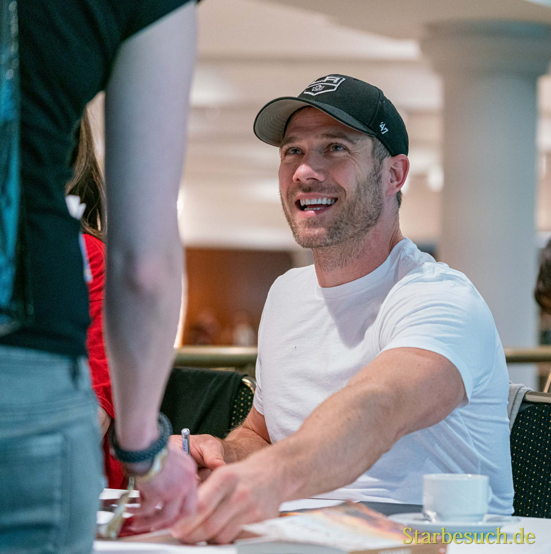 Bonn, Germany - June 8 2019: Luke Macfarlane (*1980, Canadian actor - Killjoys  ) is happy to meet fans at FedCon 28, a four day sci-fi convention. FedCon 28 took place Jun 7-10 2019.