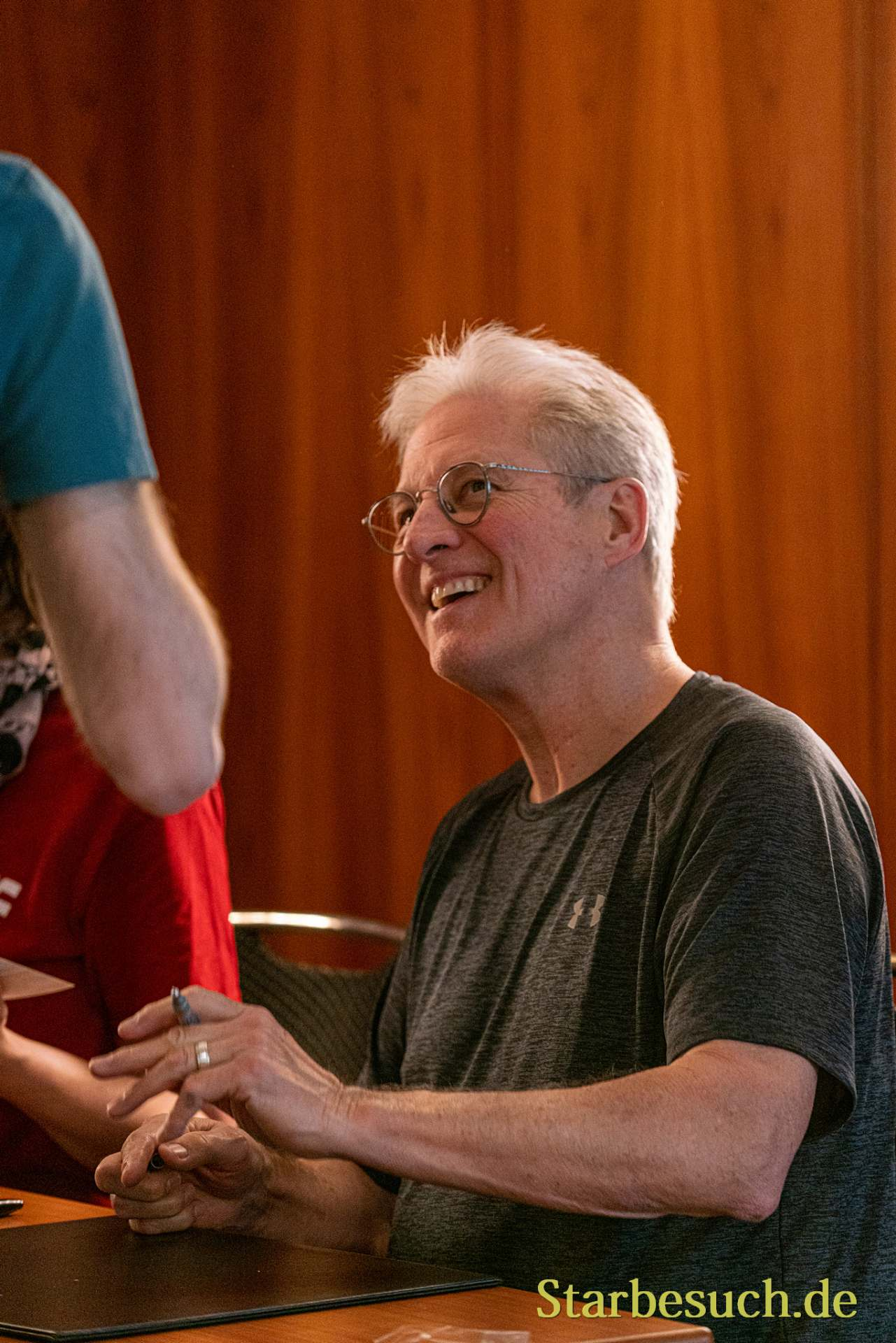 Bonn, Germany - June 8 2019: Bruce Boxleitner (*1950, actor, writer - Babylon 5) is happy to meet fans at FedCon 28, a four day sci-fi convention. FedCon 28 took place Jun 7-10 2019.