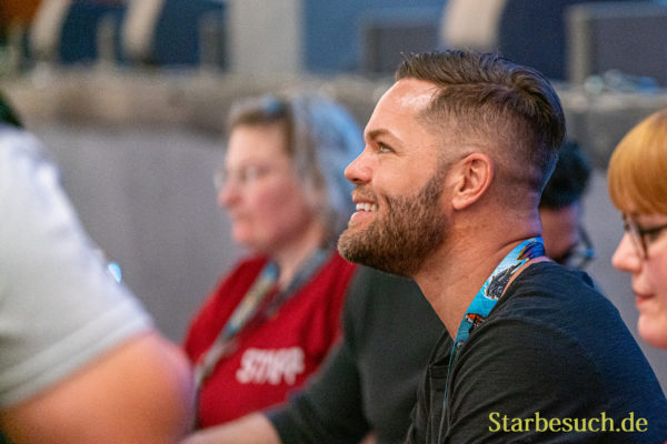 Bonn, Germany - June 8 2019: Wes Chatham (*1978, actor - The Expanse) is happy to meet fans at FedCon 28, a four day sci-fi convention. FedCon 28 took place Jun 7-10 2019.