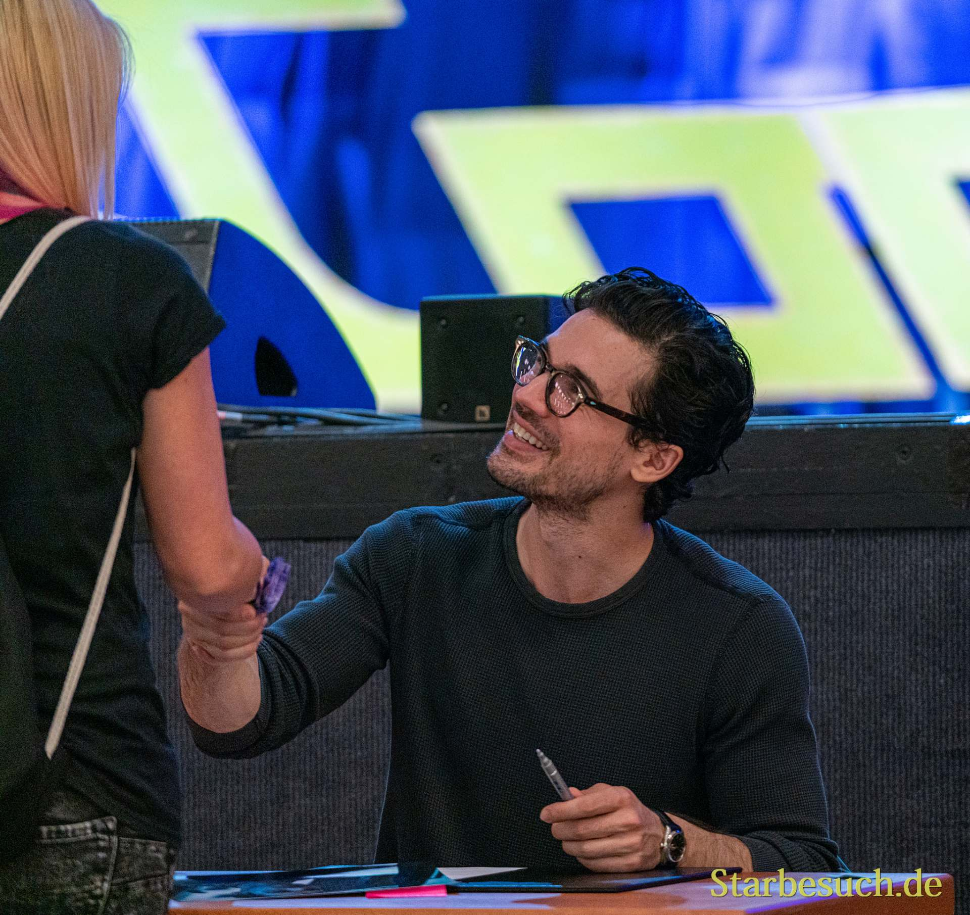 Bonn, Germany - June 8 2019: Steven Strait (*1986, American actor and model - The Expanse) is happy to meet fans at FedCon 28, a four day sci-fi convention. FedCon 28 took place Jun 7-10 2019.