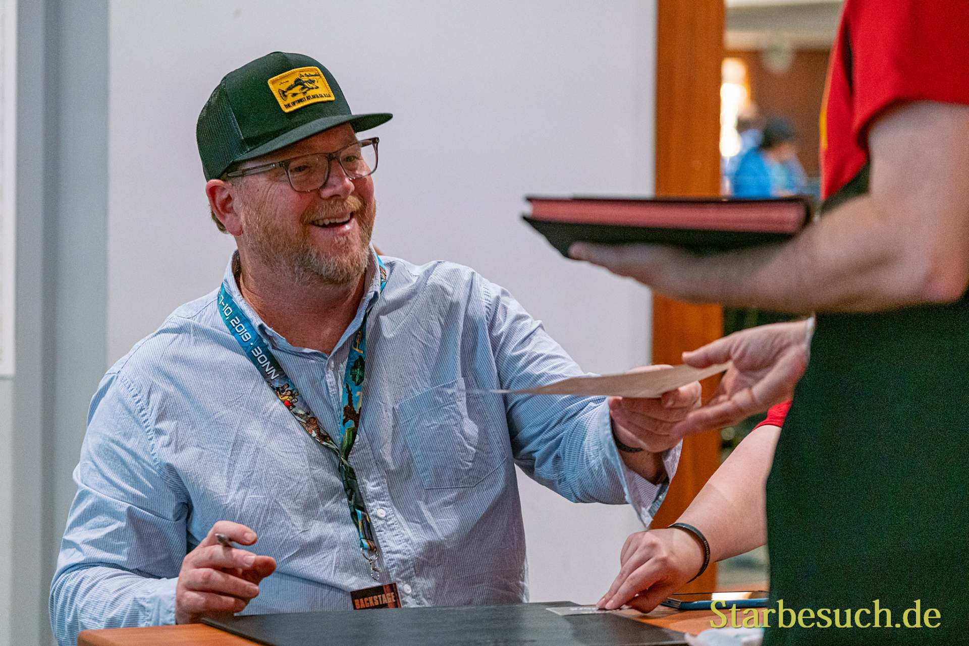 Bonn, Germany - June 8 2019: Robert Duncan McNeill (*1964, American actor and director - Star Trek: Voyager) is happy to meet fans at FedCon 28