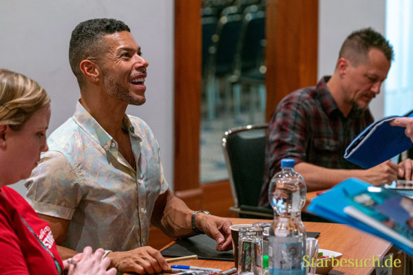 Bonn, Germany - June 8 2019: Wilson Cruz (*1973, American actor - Star Trek: Discovery) is happy to meet fans at FedCon 28, a four day sci-fi convention. FedCon 28 took place Jun 7-10 2019.