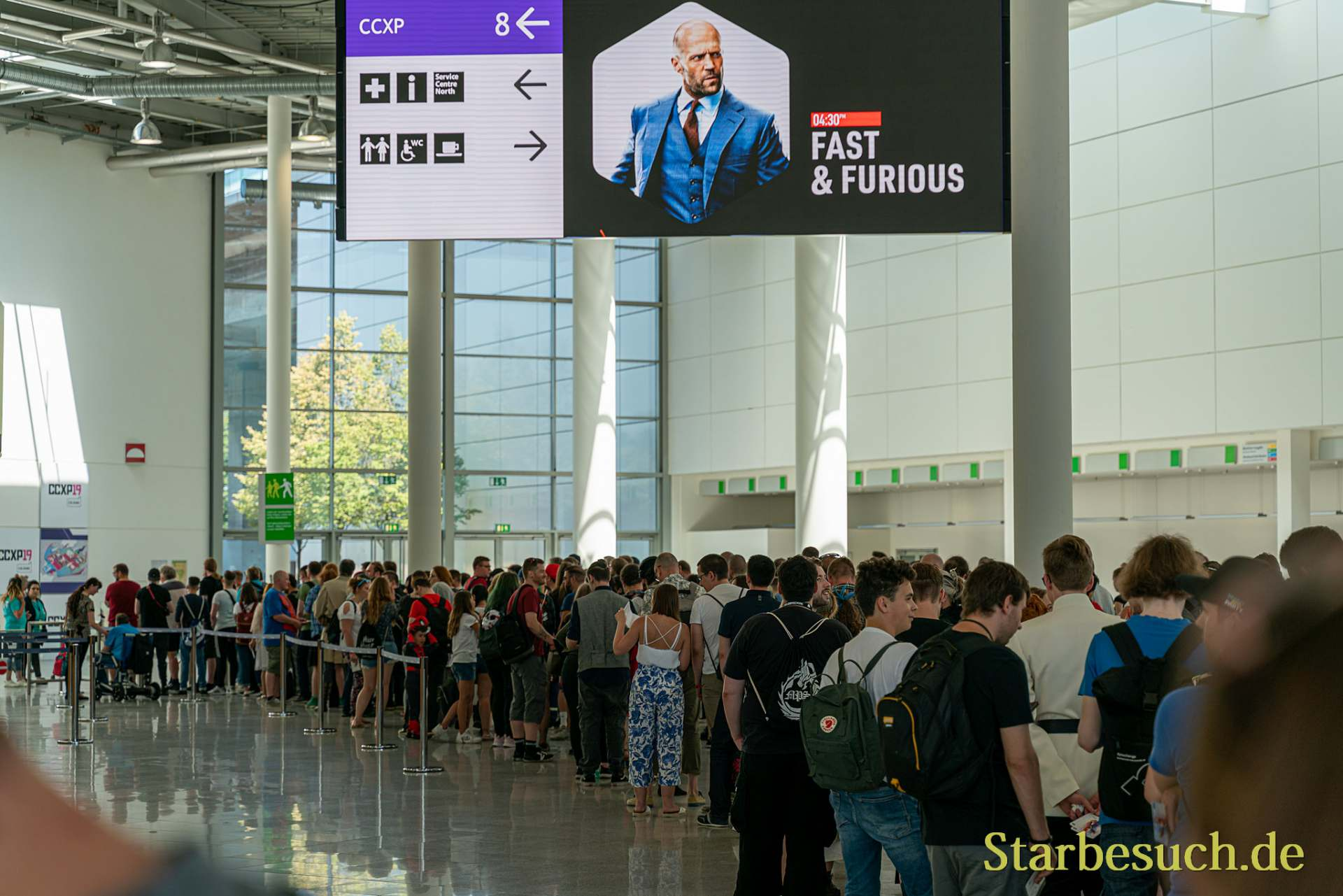 COLOGNE, GERMANY - JUN 28th 2019: Impressions from CCXP Cologne: People waiting to enter the convention