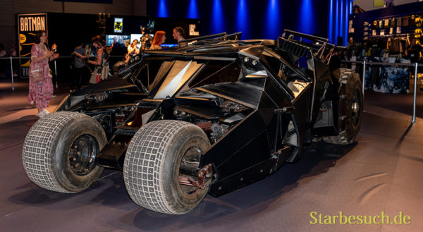 COLOGNE, GERMANY - JUN 28th 2019: Impressions from CCXP Cologne: Original Batman Mobiles from the movies