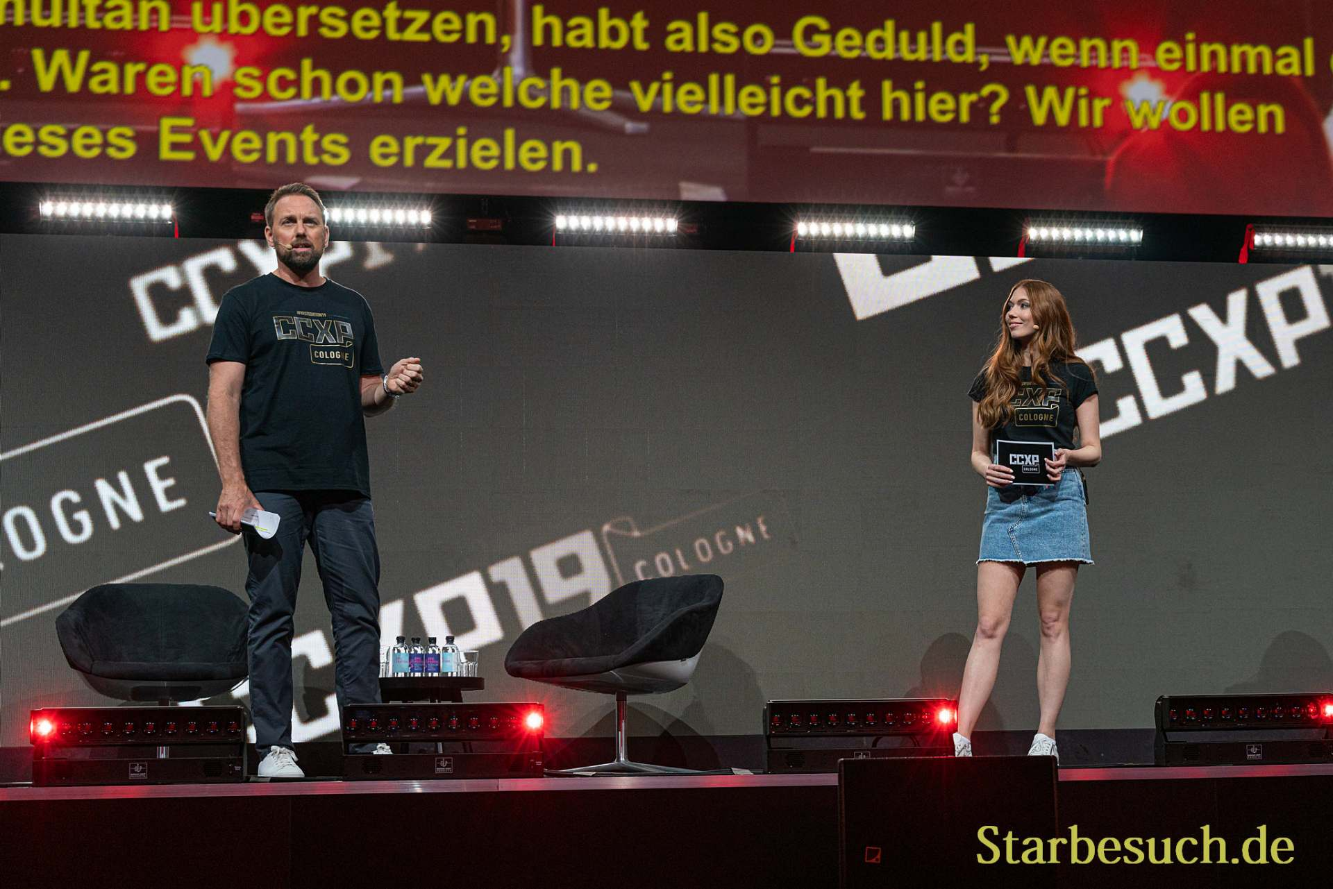 COLOGNE, GERMANY - JUN 28th 2019: Steven Gätjen and Vanessa Christin Poehlmann at CCXP Cologne