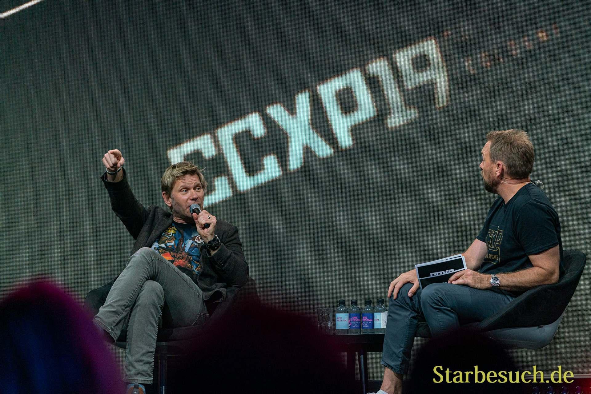 COLOGNE, GERMANY - JUN 28th 2019: Mark Pellegrino and Steven Gätjen at CCXP Cologne