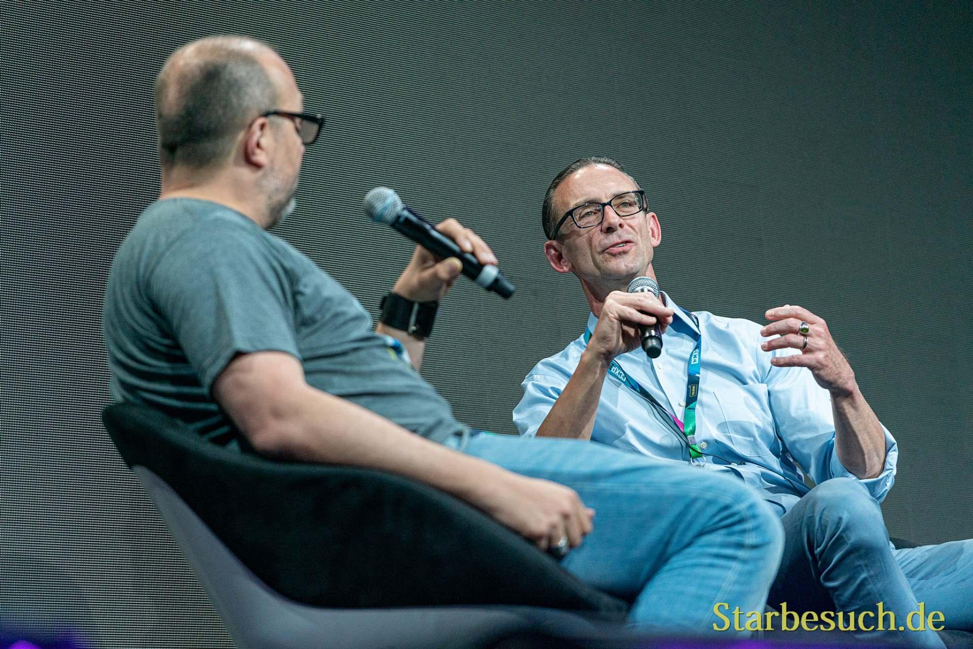 COLOGNE, GERMANY - JUN 28th 2019: Robert Milazzo and Chuck Palahniuk at CCXP Cologne