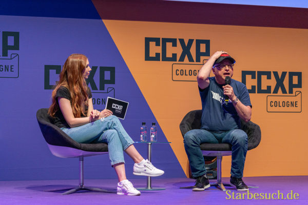 COLOGNE, GERMANY - JUN 28th 2019: Vanessa Christin Poehlmann and Michael Uslan at CCXP Cologne