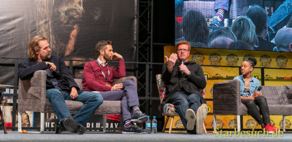 DORTMUND, GERMANY - December 7th 2019: David Harbour, Jake Busey and Priah Ferguson at German Comic Con Dortmund