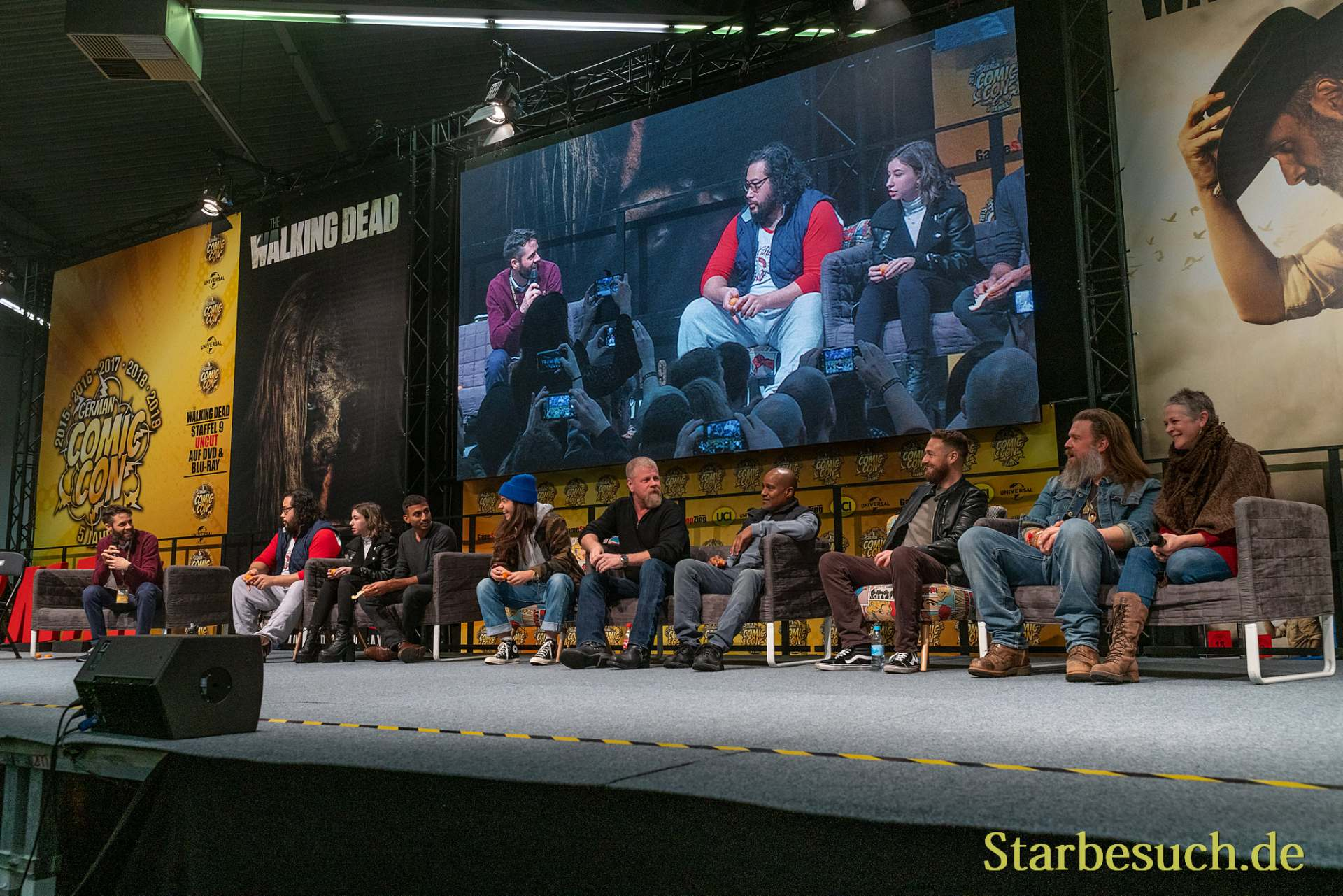DORTMUND, GERMANY - December 7th 2019: Cooper Andrews, Katelyn Nacon, Avi Nash, Alanna Masterson, Michael Cudlitz, Seth Gilliam, Ross Marquand, Ryan Hurst and Melissa McBride at German Comic Con Dortmund