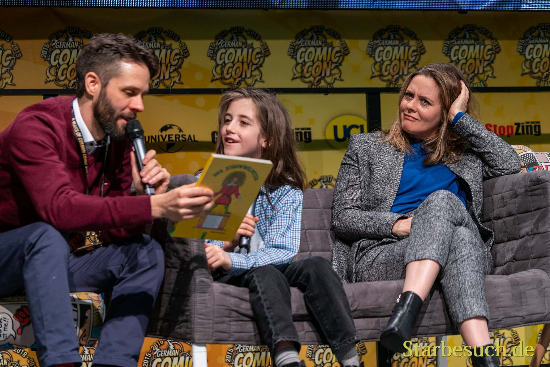 DORTMUND, GERMANY - December 7th 2019: Alicia Silverstone with her son Bear Blu Jarecki at German Comic Con Dortmund
