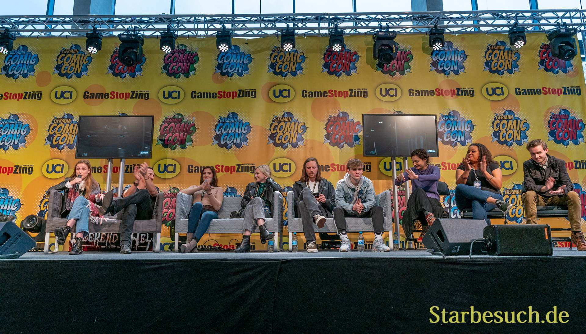 DORTMUND, GERMANY - December 7th 2019: Madison Lintz, Michael Traynor, Brighton Sharbino, Emily Kinney, Joshua Mikel, Matt Linz, Cassady McClincy, Nadine Marissa and Callan McAuliffe at German Comic Con Dortmund