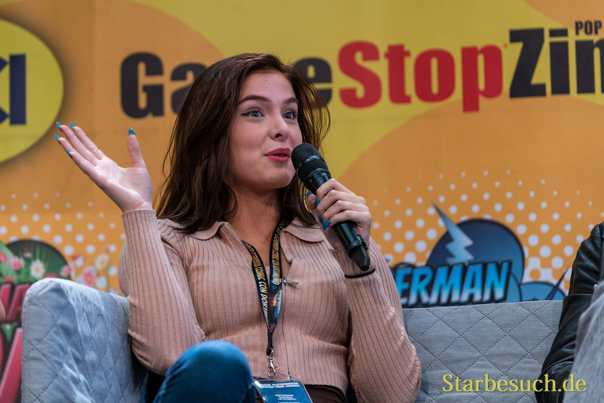 DORTMUND, GERMANY - December 7th 2019: Brighton Sharbino at German Comic Con Dortmund