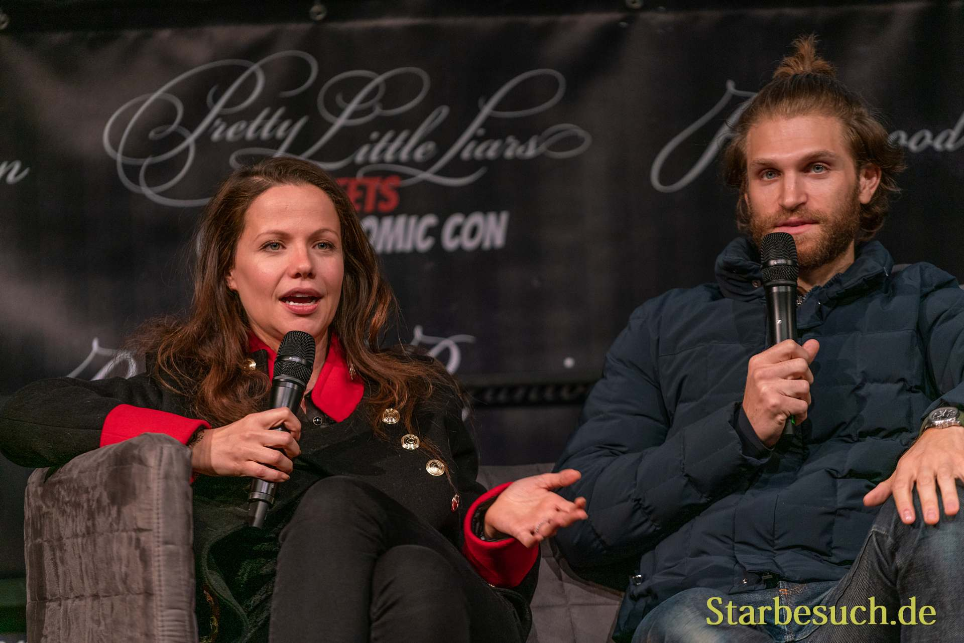 DORTMUND, GERMANY - December 7th 2019: Keegan Allen and Tammin Sursok at German Comic Con Dortmund