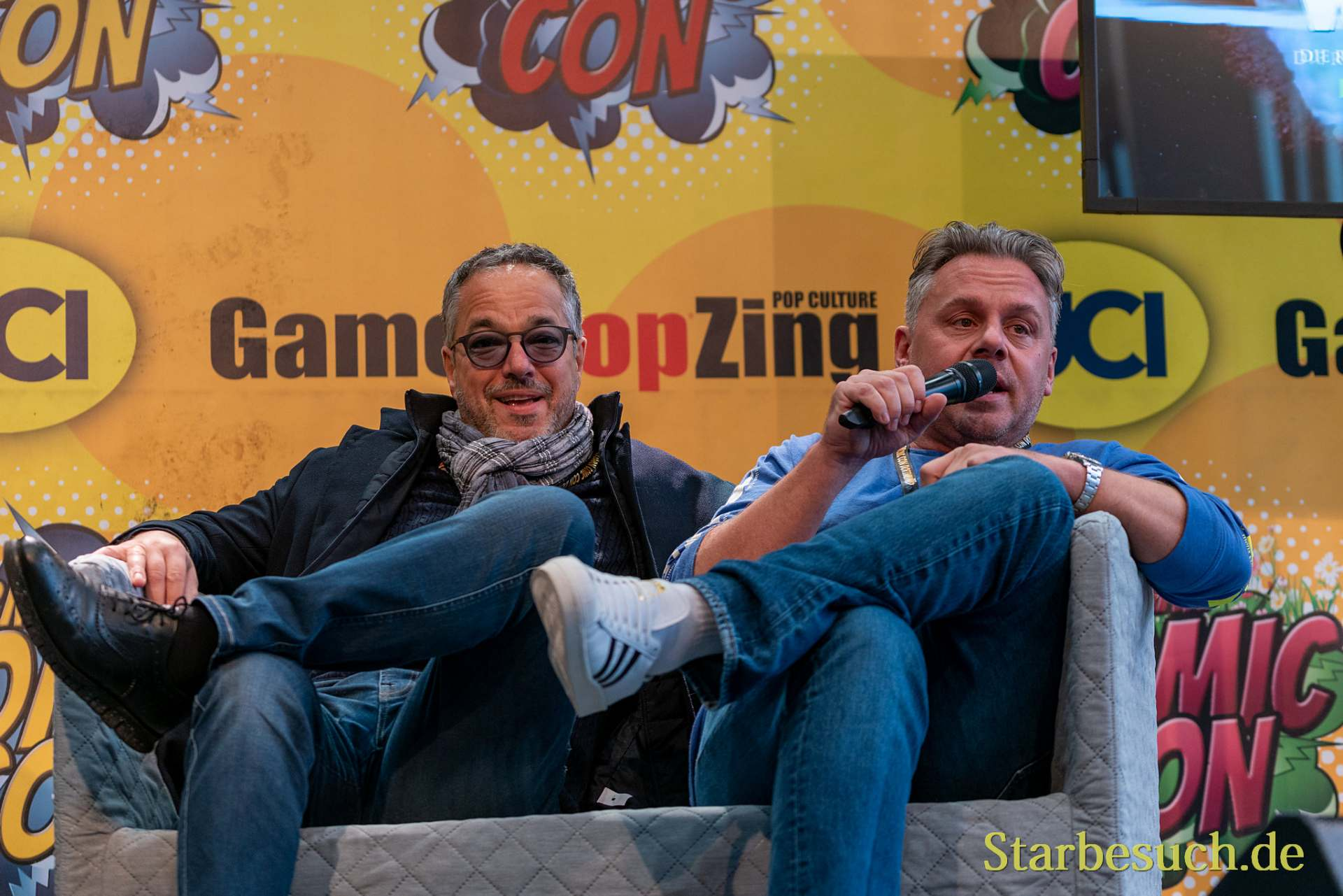 DORTMUND, GERMANY - December 8th 2019: Charles Rettinghaus and Dennis Schmidt-Foß at German Comic Con Dortmund