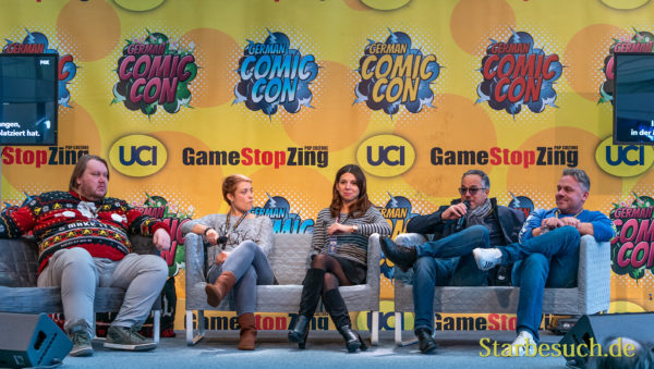 DORTMUND, GERMANY - December 8th 2019: Sven Vössing, Ilona Brokowski, Jill Böttcher, Charles Rettinghaus and Dennis Schmidt-Foß at German Comic Con Dortmund